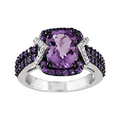 Genuine Amethyst and 1/10 CT. T.W. Diamond Sterling Silver Ring
