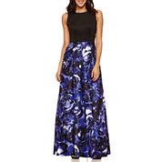 Ombre Sleeveless Shantung Skirt Evening Gowns-Petites