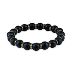 Mens Black Hematite Stainless Steel Beaded Bracelet