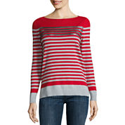Liz Claiborne Long Sleeve Boat Neck Sequin Stripe Sweater