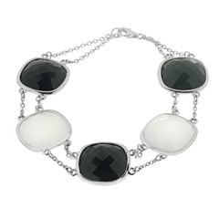 Womens 7.25 Inch White Agate Sterling Silver Link Bracelet