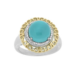 Womens 1/10 CT. T.W. Blue Turquoise Sterling Silver Gold Over Silver Halo Ring