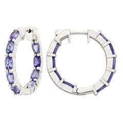 Blue Tanzanite Sterling Silver Hoop Earrings