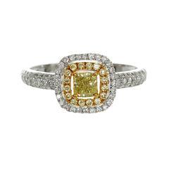 Womens 3/4 CT. T.W. Princess Yellow Diamond 18K Gold Engagement Ring