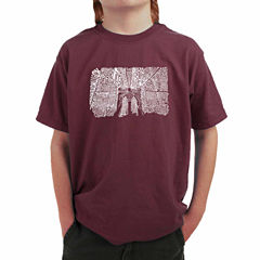 Los Angeles Pop Art Popular Brooklyn Neighborhoods Graphic T-Shirt-Big Kid Boys