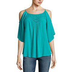 Love And Let Love Long Sleeve Scoop Neck Gauze Blouse-Juniors