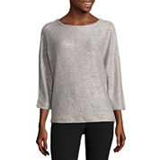 Worthington 3/4 Sleeve Scoop Neck Pullover Sweater