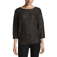 Worthington 3/4 Sleeve Scoop Neck Pullover Sweater-Talls