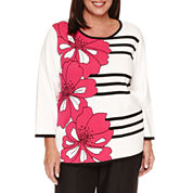 Alfred Dunner 3/4 Sleeve Floral Graphic Stripe Sweater