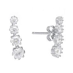 Cubic Zirconia Sterling Silver Graduated Earrings