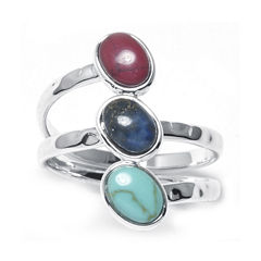 Multicolor Three-Stone Silver-Plated Brass Ring