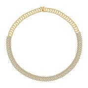 Diamond-Accent 18K Gold Over Brass Chevron Necklace