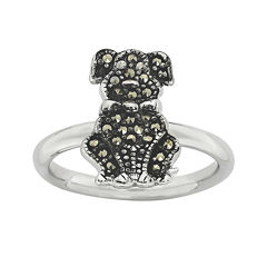 Personally Stackable Marcasite Sterling Silver Dog Ring