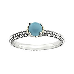 Personally Stackable Simulated Turquoise Two-Tone Ring