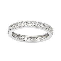 Personally Stackable Genuine White Topaz Filigree Eternity Ring