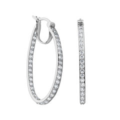 DiamonArt® Cubic Zirconia Sterling Silver Oval Hoop Earrings