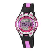 Armitron® Pro-Sport Womens Black/Pink Resin Strap Chronograph Sport Watch 45/7030PNKJ