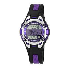 armitron watches armitron watch collection jcpenney armitron® pro sport womens black purple resin strap chronograph sport watch 45