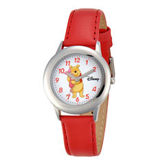 Disney Winnie the Pooh Kids Red Leather Strap Watch