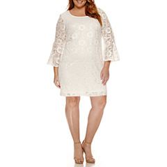 Robbie Bee Long Bell Sleeve Lace Sheath Dress-Plus