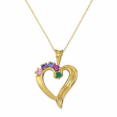 Personalized Birthstone Heart Pendant Necklace