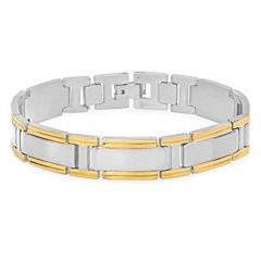 Mens 8 Inch 18K Stainless Steel Link Bracelet