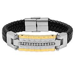 Cubic Zirconia 18K Stainless Steel Id Bracelet