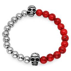 Mens Red Coral Stainless Steel Beaded Bracelet