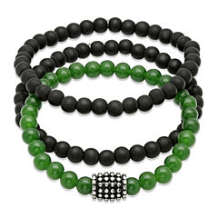 Mens Black Lava and Simulated Jade Beaded Stainless Steel Bracelet Set of 3