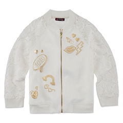 TEMPTED GIRLS LACE SLEEVE IVORY ZIP UP JACKET