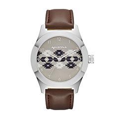 Arizona Mens Brown Strap Watch-Fmdarz524