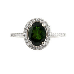 Womens Genuine Green Chrome Diopside Sterling Silver Halo Ring