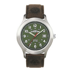 Timex® Expedition® Field Metal Mens Brown Leather Strap Watch T400519J
