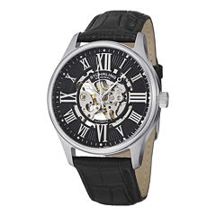 Stuhrling® Original Mens Black Leather Strap Skeleton Watch 7329.02