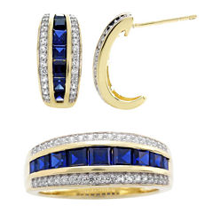 Lab-Created Blue and White Sapphire Earring and Ring Boxed Set