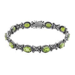 Genuine Peridot Oxidized Sterling Silver Tennis Bracelet