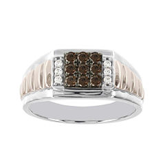 Mens 1/2 CT. T.W. White and Champagne Diamond 10K Two-Tone Gold Ring