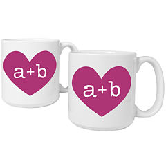 Cathy's Concepts Heart of Love Set of 2 Personalized Large 20-oz. Coffee Mugs