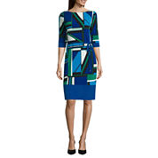 Liz Claiborne Elbow Sleeve Geo Shift Dress W Border