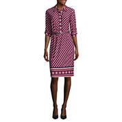 Liz Claiborne Elbow Sleeve Shirt Dress