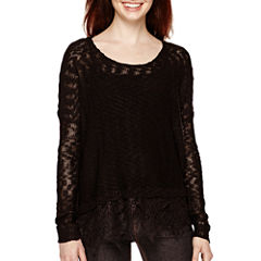 Decree® Long-Sleeve Lace-Hem Sweater