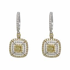 1 1/2 CT. T.W. Yellow Diamond 18K Gold Drop Earrings