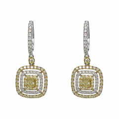 1 1/5 CT. T.W. Yellow Diamond 18K Gold Drop Earrings