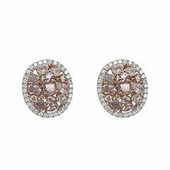 2 1/5 CT. T.W. Pink Diamond 18K Gold Stud Earrings