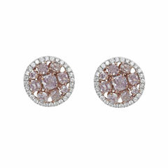 2 1/5 CT. T.W. Pink Diamond 18K Gold Stud Earrings