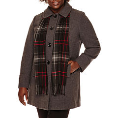 St. John's Bay® Wool-Blend Coat with Scarf - Plus