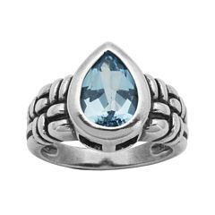 Genuine Sky Blue Topaz Oxidized Sterling Silver Ring