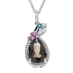 Multi-Gemstone Snake Sterling Silver Pendant Necklace