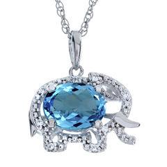 Blue Topaz Elephant Sterling Silver Pendant Necklace