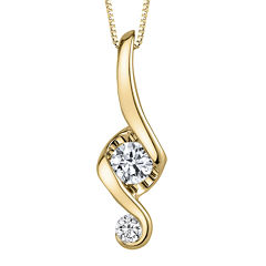 Juno Lucina® 1/5 CT. T.W. Diamond 14K Yellow Gold Swirl Pendant Necklace